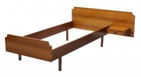 Italian Mid-century Modern Teakwood Bed Frame