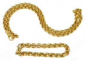 (2) Estate 14kt Necklace & Bracelet Jewelry Suite