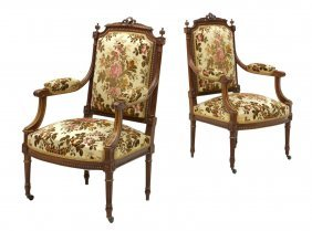(2) French Louis Xvi Style Carved Arm Chairs
