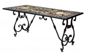 Large Pietra Dura Iron Base Dining Table