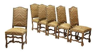 6 FRENCH UPHOLSTERED DINING CHAIRS
