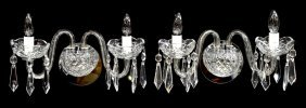 (2) Waterford Two Light Crystal Wall Sconces