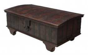 Large Teakwood Iron Banded Dome Top Trunk