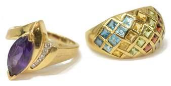 (2) LADIES VINTAGE ESTATE GEMSET 14KT GOLD RINGS