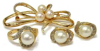 (4)ESTATE 14KT GOLD, PEARL & DIAMOND JEWELRY GROUP