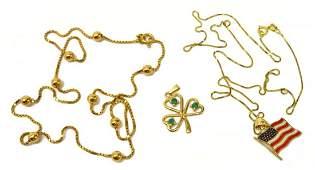 (4) ESTATE 14KT GOLD NECKLACES & SHAMROCK PENDANT