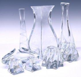 (8)baccarat Art Crystal Vases, Bowl & Candlesticks