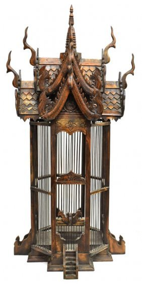 Vintage Asian Carved Wood Temple Bird Cage