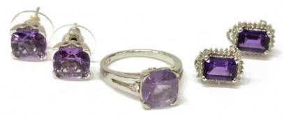 (5) GROUP OF LADIES 14KT GOLD & AMETHYST JEWELRY