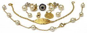 (lot) Group Of 14kt Gold & Pearl Scrap Jewelry