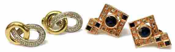 (4) LADIES 12K & 14K SAPPHIRE & DIAMOND EARRINGS