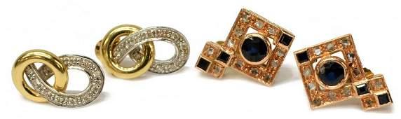 4 LADIES 12K  14K SAPPHIRE  DIAMOND EARRINGS