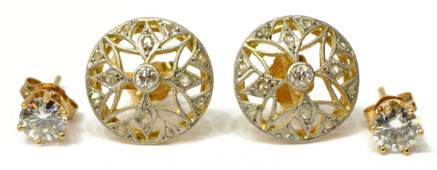 4 LADIES 14KT DIAMOND  CZ STUD ESTATE EARRINGS