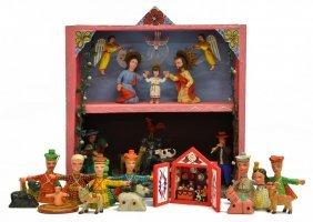 (16) South American Nativity Retablo & Figures