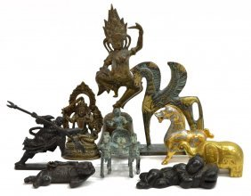 (9) Collection Of Small Bronze & Metal Figurines