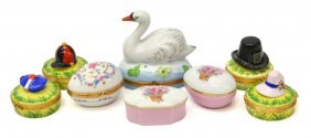 (8) Collection Of Limoges Hand Painted Pill Boxes