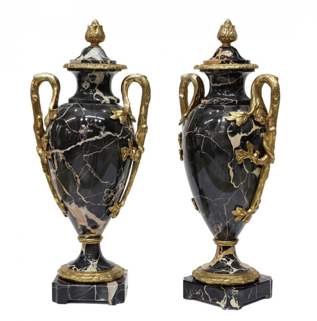 (2) LOUIS XVI STYLE GILT BRASS & MARBLE URNS