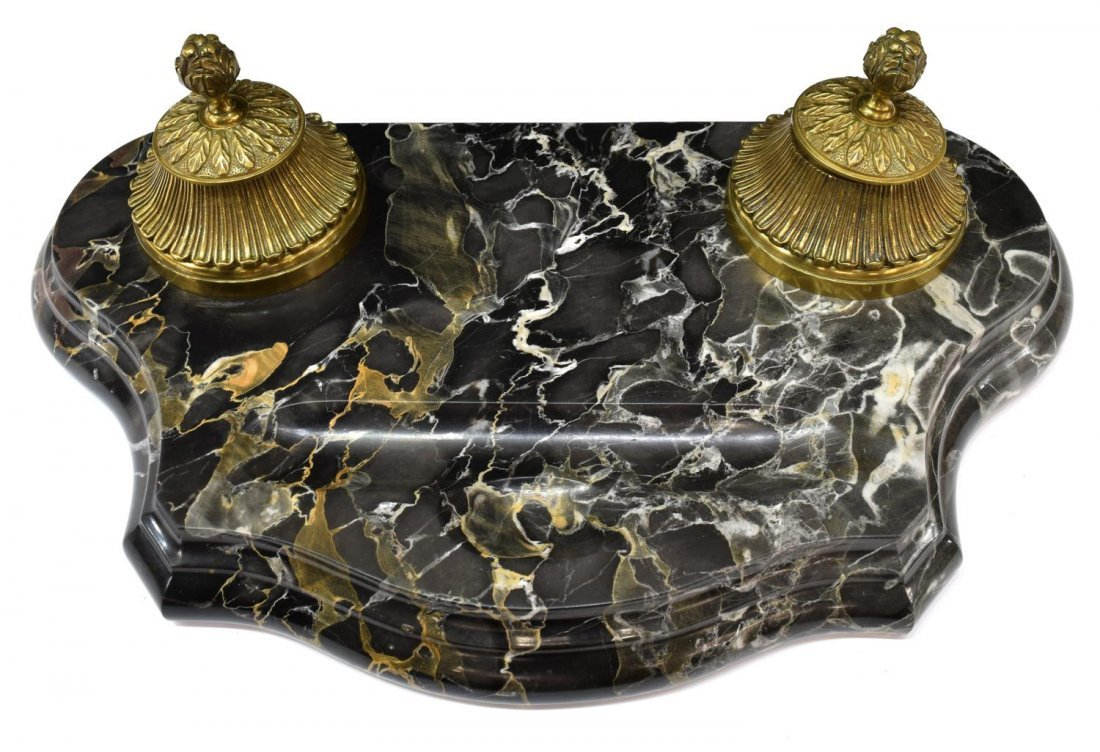 CONTINENTAL VARIEGATED MARBLE & BRONZE INKWELL