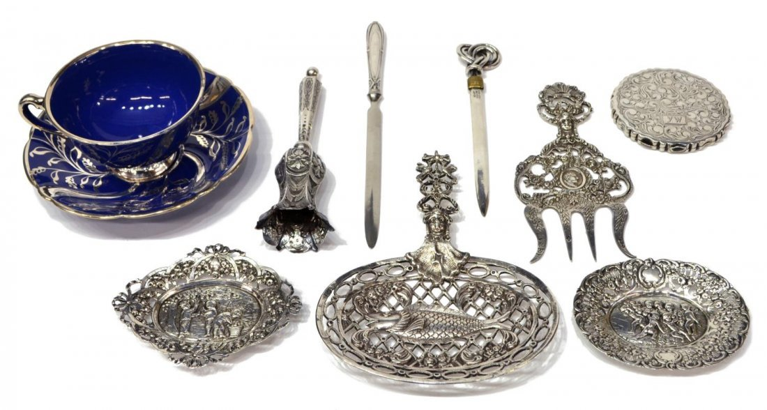 (8) COLLECTION STERLING & 800 SILVER TABLE ITEMS