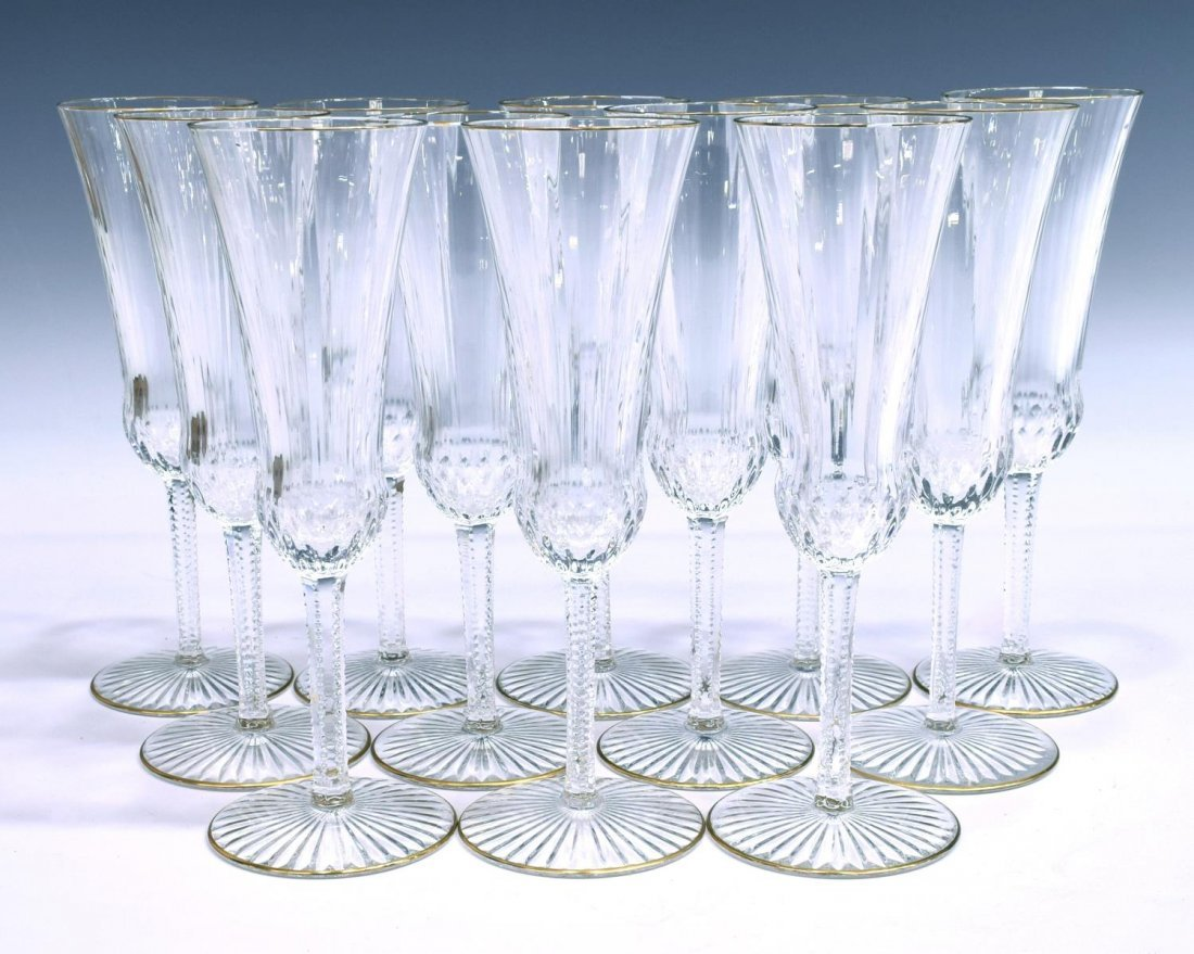 12 ST-LOUIS APOLLO GOLD CRYSTAL CHAMPAGNE FLUTES