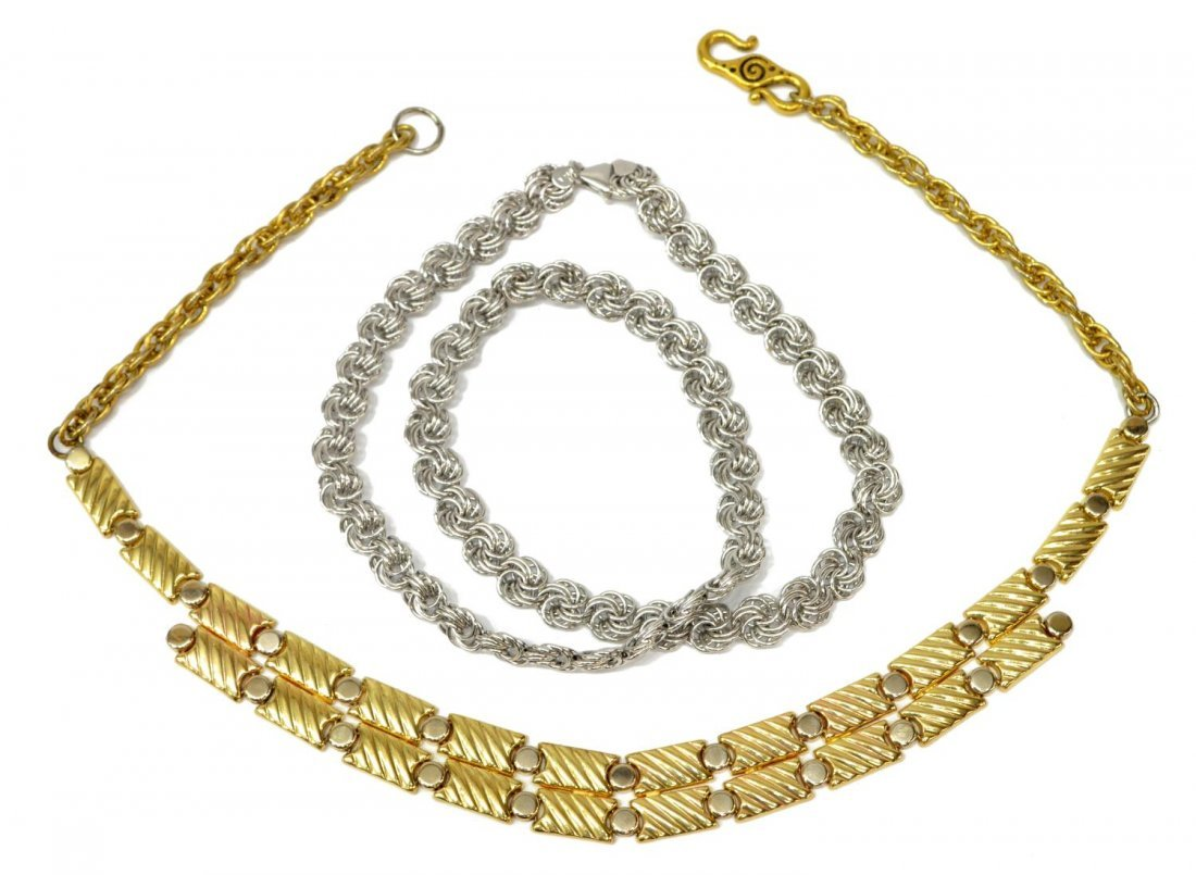 (2) LADIES 14KT YELLOW AND WHITE GOLD NECKLACES