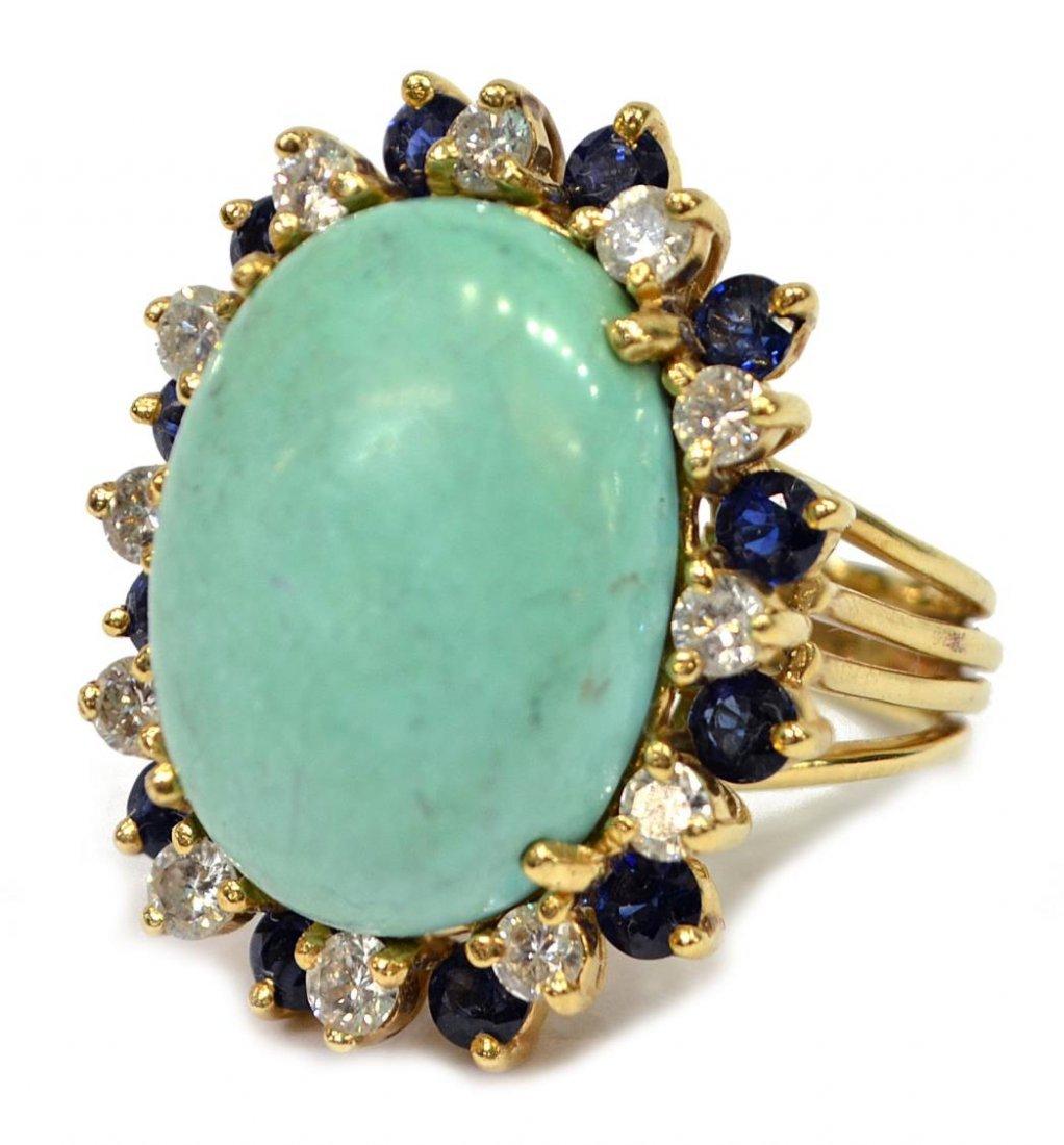 LADIES 14KT GOLD TURQUOISE DIAMOND SAPPHIRE RING