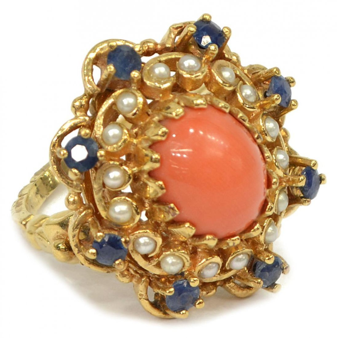LADIES 14KT GOLD CORAL, PEARL AND SAPPHIRE RING