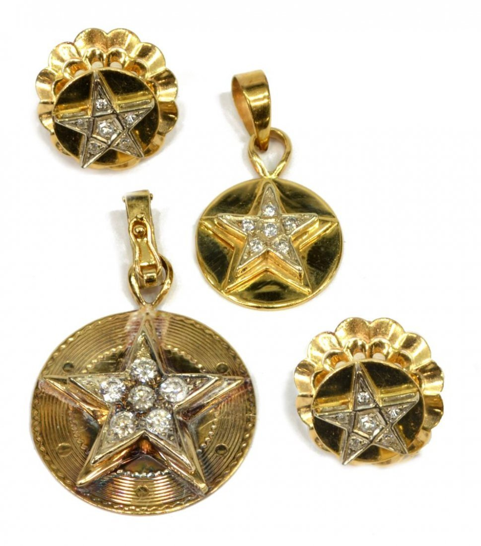 (4) ESTATE 14KT YELLOW GOLD & DIAMOND STAR JEWELRY