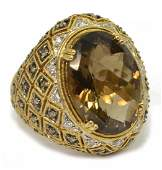 LADIES 14KT GOLD SMOKY QUARTZ  DIAMOND RING