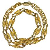 LADIES 14KT YELLOW GOLD FANCY LINK NECKLACE