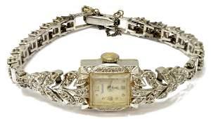 LADIES WALTHAM 14KT GOLD  DIAMOND DRESS WATCH