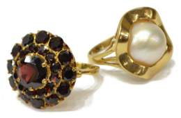 (2) LADIES GOLD PEARL AND GARNET ESTATE RINGS