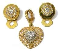 (3) LADIES 14KT YELLOW GOLD CZ & DIAMOND JEWELRY