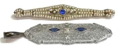(2) EDWARDIAN DIAMOND, & PEARL JEWELRY