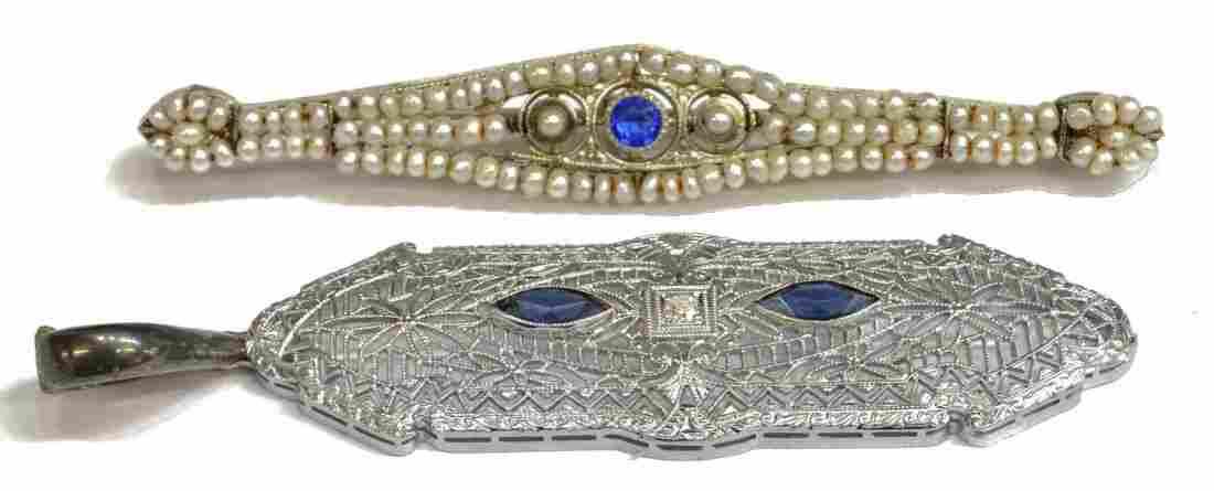 (2) EDWARDIAN DIAMOND, & PEARL JEWELRY
