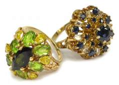 (2) LADIES 14KT SAPPHIRE AND PERIDOT ESTATE RINGS