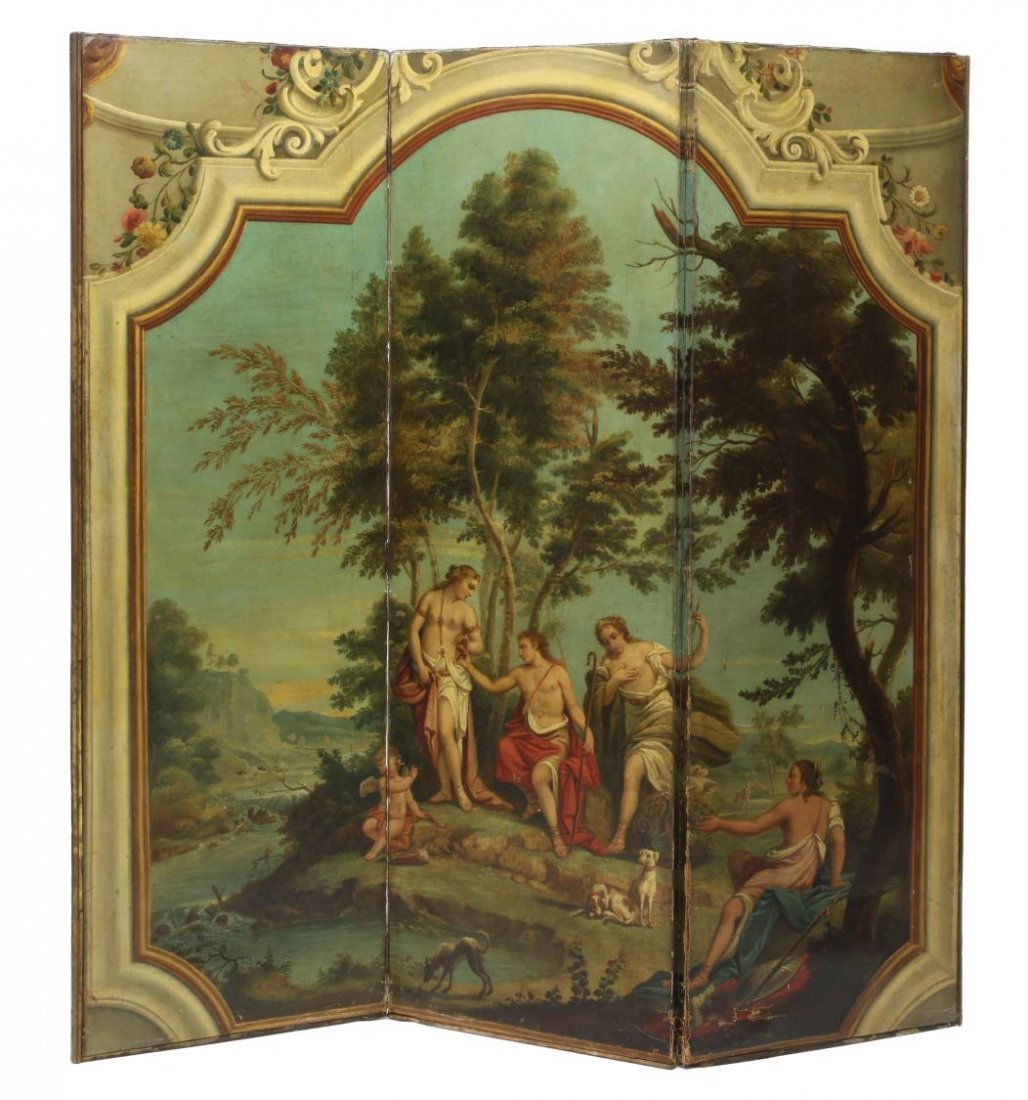 HAND PAINTED NEOCLASSICAL THREE PANEL ROOM SCREEN