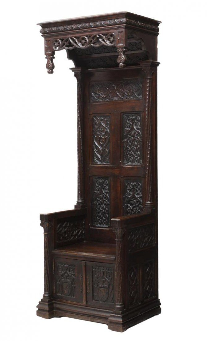 FRENCH GOTHIC REVIVAL CANOPY TOP THRONE CHAIR