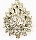 LADIES 14KT WHITE GOLD DIAMOND CLUSTER PENDANT