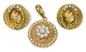 3 LADIES CZ  DIAMOND ESTATE PENDANT  EARRINGS
