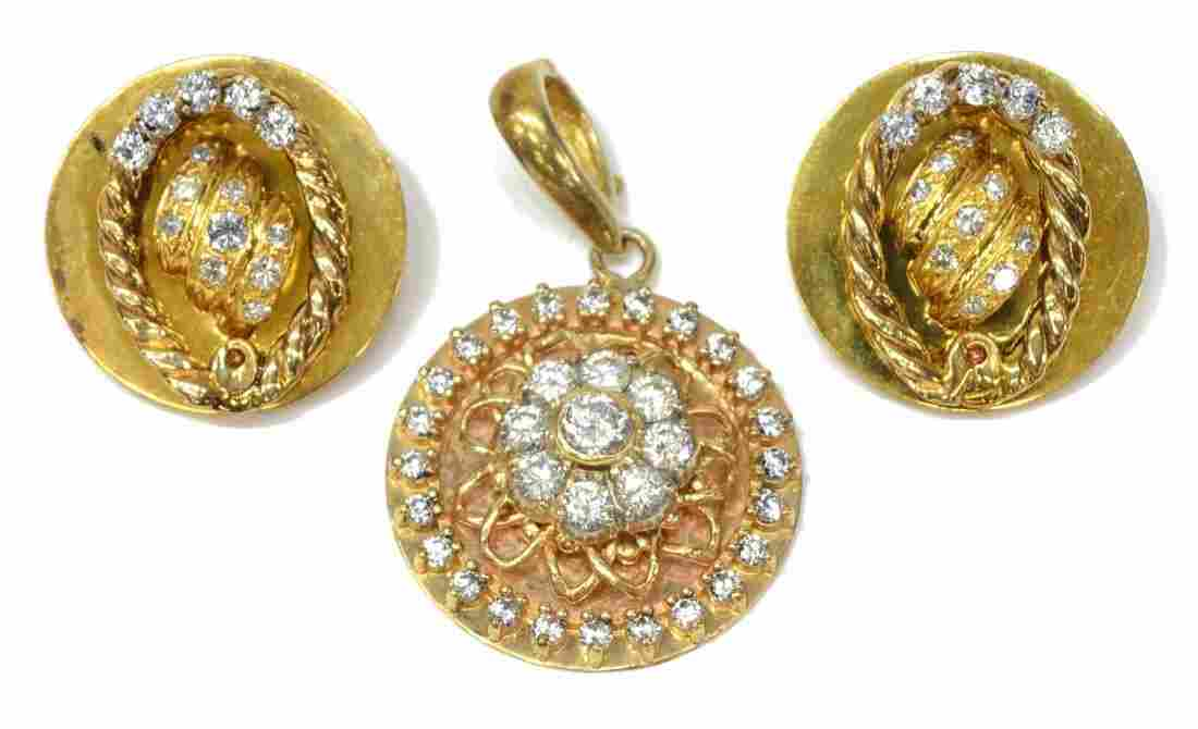 (3) LADIES CZ & DIAMOND ESTATE PENDANT & EARRINGS