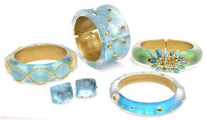 ALEXIS BITTAR BLUE & GREEN LUCITE JEWELRY