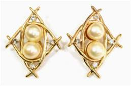 LADIES ESTATE 14KT GOLD PEARL  DIAMOND EARRINGS
