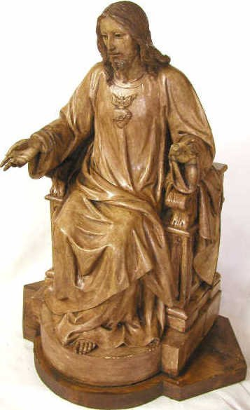 1: ANTIQUE RELIGIOUS STATUE CHRIST ON THRONE