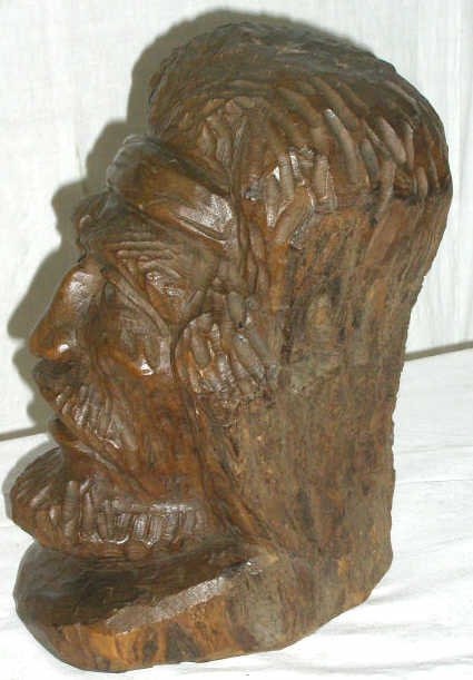 14: CARVED WOOD GAUCHO HEAD SIGNED DATED