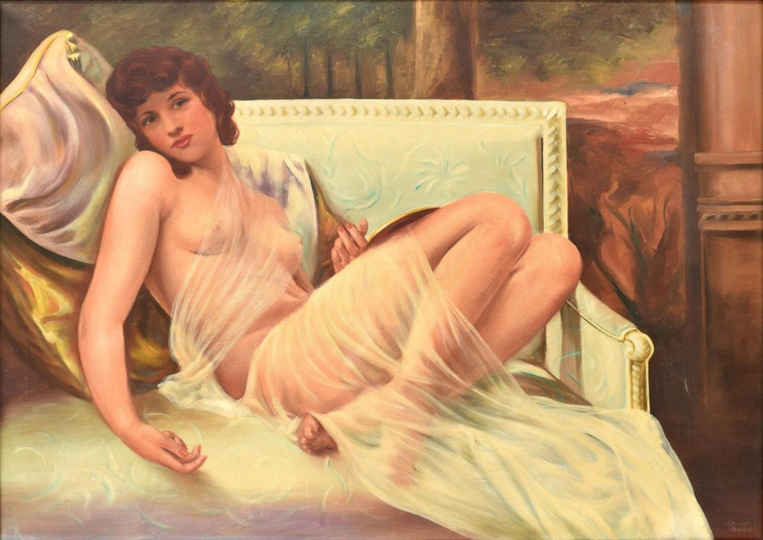 LEWIS BERG (20TH C) RECLINING FEMALE NUDE PAINTING