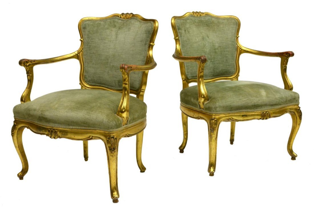 (2) ITALIAN LOUIS XV STYLE CARVED & GILDED CHAIRS