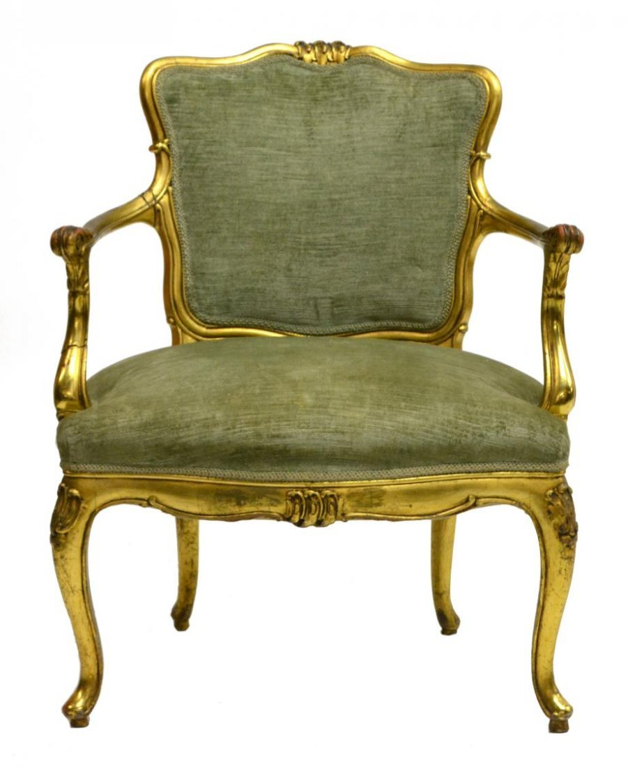 (2) ITALIAN LOUIS XV STYLE CARVED & GILDED CHAIRS - 2