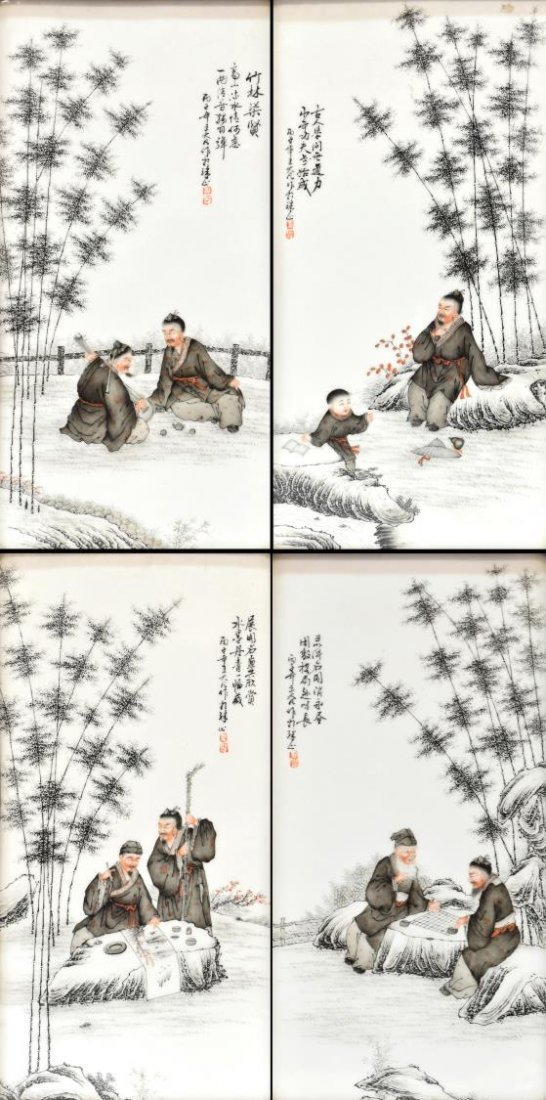 (4) WANG DAFAN, CHINESE PORCELAIN SAGES PLAQUES