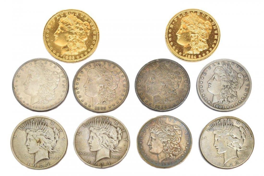 (10) U.S. MORGAN & PEACE SILVER DOLLARS
